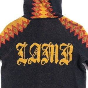 L.A.M.B. Cashmere Argyle Stripe Hoodie Sweater